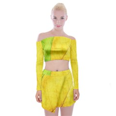 Green Yellow Leaf Texture Leaves Off Shoulder Top With Mini Skirt Set
