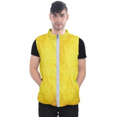 Green Yellow Leaf Texture Leaves Men s Puffer Vest
