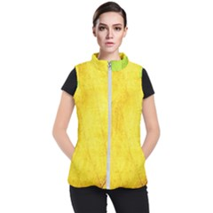 Green Yellow Leaf Texture Leaves Women s Puffer Vest