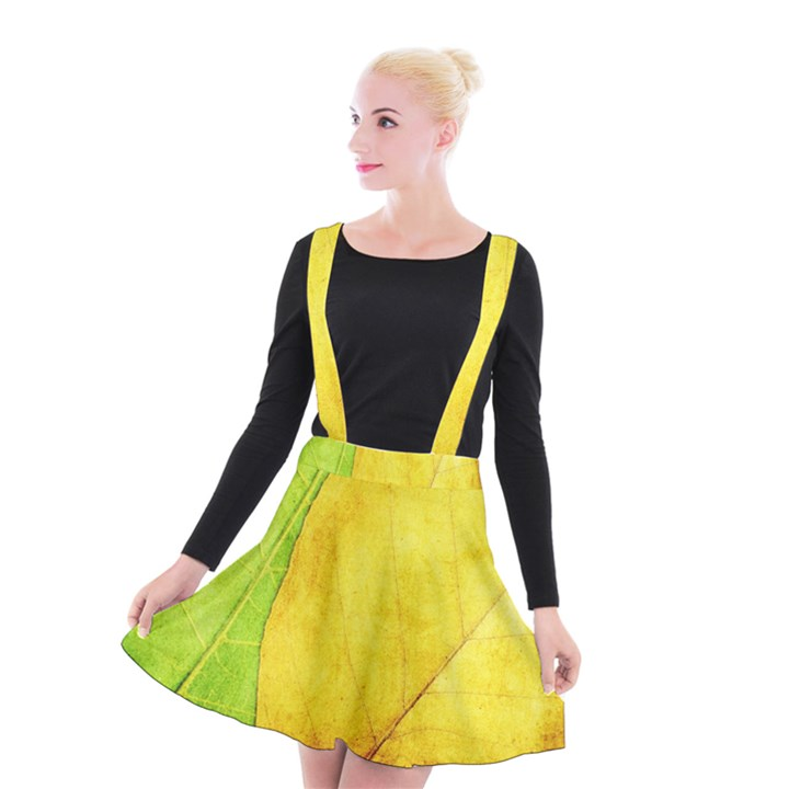 Green Yellow Leaf Texture Leaves Suspender Skater Skirt