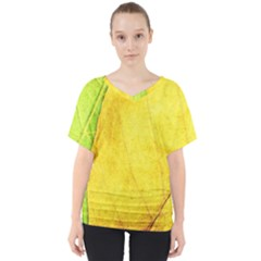 Green Yellow Leaf Texture Leaves V Neck Dolman Drape Top