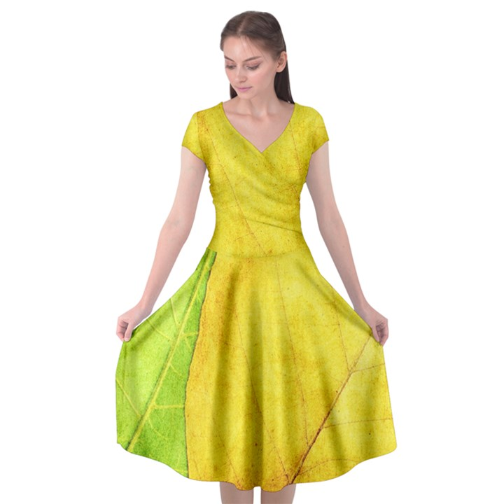 Green Yellow Leaf Texture Leaves Cap Sleeve Wrap Front Dress