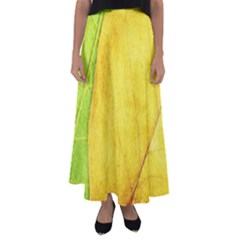 Green Yellow Leaf Texture Leaves Flared Maxi Skirt