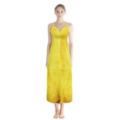 Green Yellow Leaf Texture Leaves Button Up Chiffon Maxi Dress