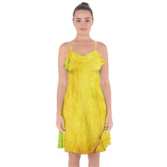 Green Yellow Leaf Texture Leaves Ruffle Detail Chiffon Dress
