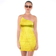 Green Yellow Leaf Texture Leaves One Soulder Bodycon Dress