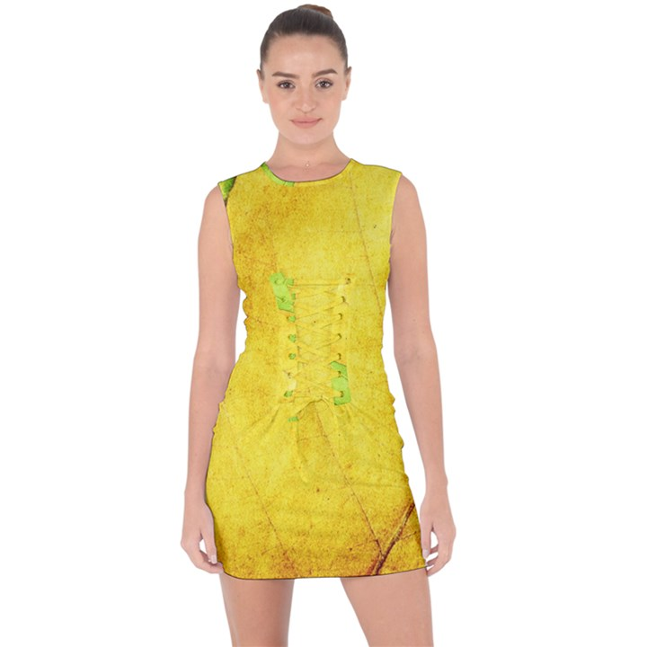 Green Yellow Leaf Texture Leaves Lace Up Front Bodycon Dress