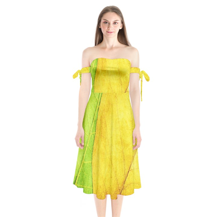 Green Yellow Leaf Texture Leaves Shoulder Tie Bardot Midi Dress