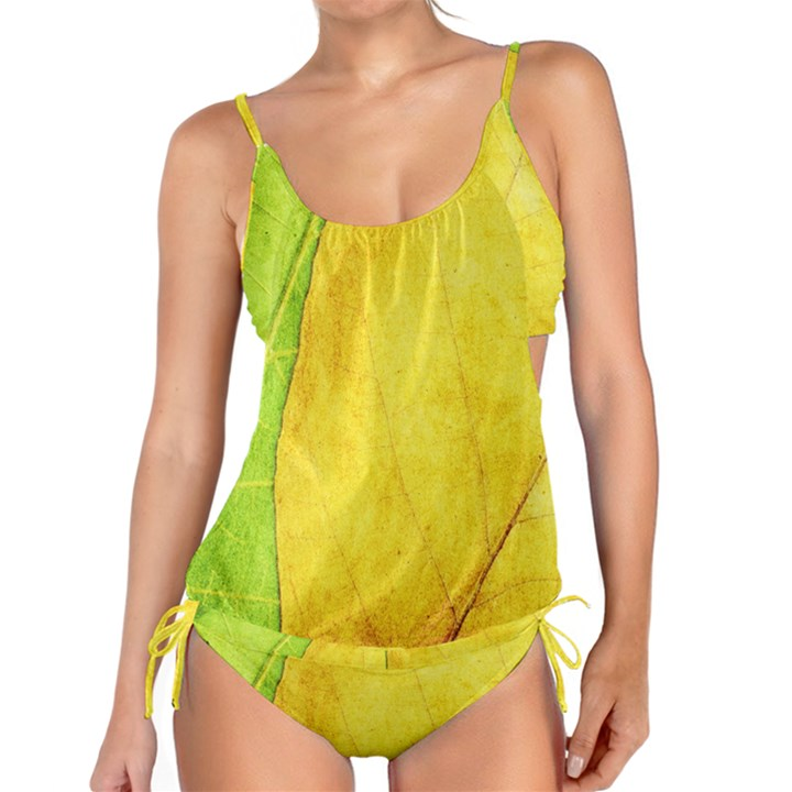 Green Yellow Leaf Texture Leaves Tankini Set