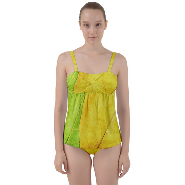 Green Yellow Leaf Texture Leaves Twist Front Tankini Set