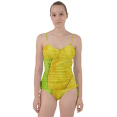Green Yellow Leaf Texture Leaves Sweetheart Tankini Set