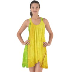 Green Yellow Leaf Texture Leaves Show Some Back Chiffon Dress