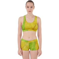 Green Yellow Leaf Texture Leaves Work It Out Gym Set