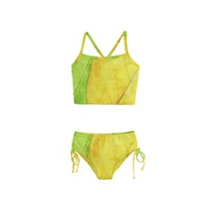 Green Yellow Leaf Texture Leaves Girls  Tankini Swimsuit