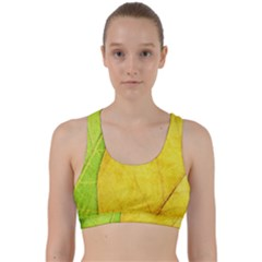 Green Yellow Leaf Texture Leaves Back Weave Sports Bra