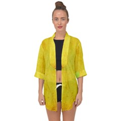 Green Yellow Leaf Texture Leaves Open Front Chiffon Kimono