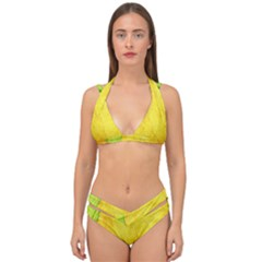 Green Yellow Leaf Texture Leaves Double Strap Halter Bikini Set by Alisyart