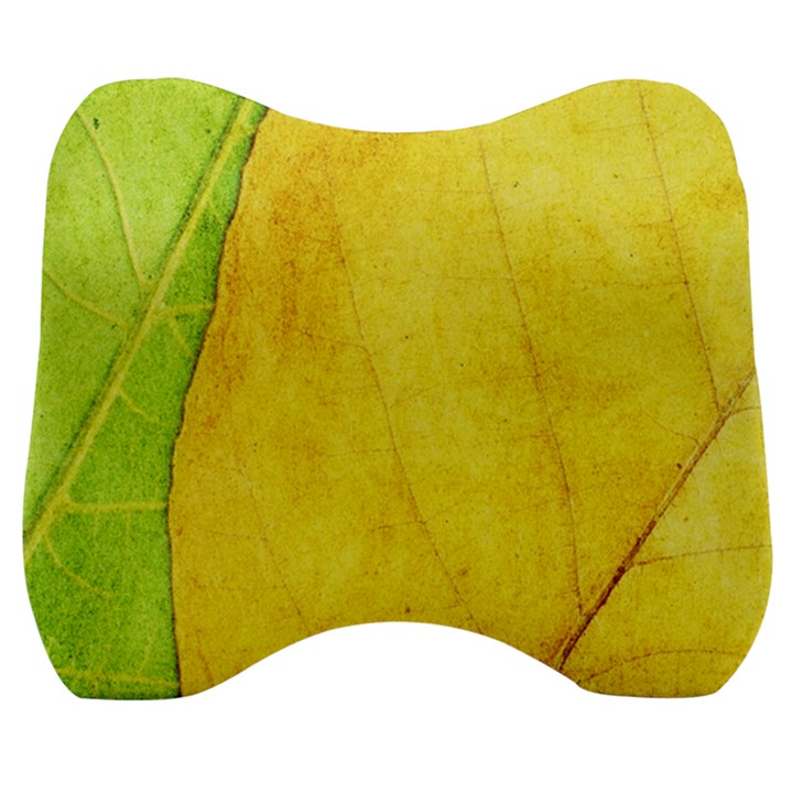 Green Yellow Leaf Texture Leaves Velour Head Support Cushion