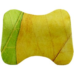 Green Yellow Leaf Texture Leaves Head Support Cushion by Alisyart