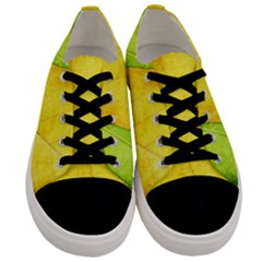 Green Yellow Leaf Texture Leaves Men s Low Top Canvas Sneakers