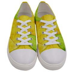Green Yellow Leaf Texture Leaves Women s Low Top Canvas Sneakers