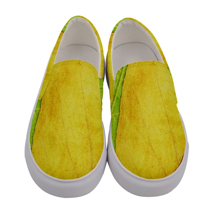 Green Yellow Leaf Texture Leaves Women s Canvas Slip Ons