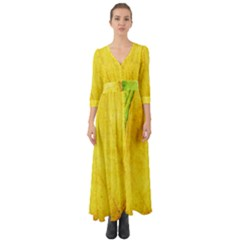 Green Yellow Leaf Texture Leaves Button Up Boho Maxi Dress