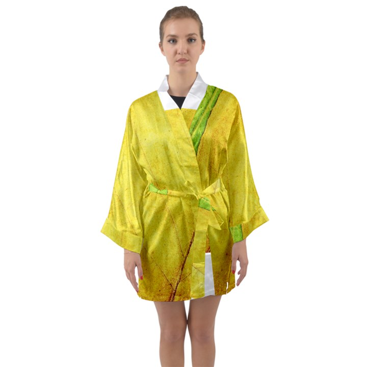 Green Yellow Leaf Texture Leaves Long Sleeve Kimono Robe