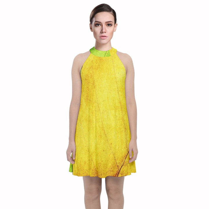 Green Yellow Leaf Texture Leaves Velvet Halter Neckline Dress