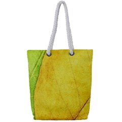 Green Yellow Leaf Texture Leaves Full Print Rope Handle Tote (small) by Alisyart
