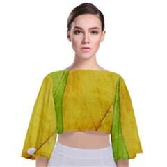 Green Yellow Leaf Texture Leaves Tie Back Butterfly Sleeve Chiffon Top