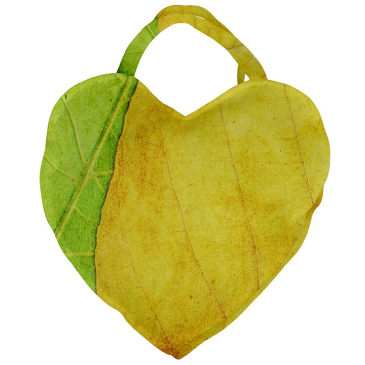 Green Yellow Leaf Texture Leaves Giant Heart Shaped Tote