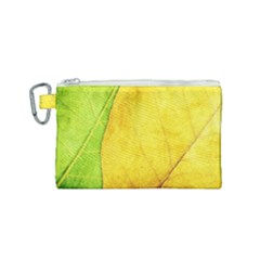Green Yellow Leaf Texture Leaves Canvas Cosmetic Bag (small)