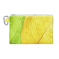 Green Yellow Leaf Texture Leaves Canvas Cosmetic Bag (large)