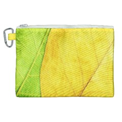 Green Yellow Leaf Texture Leaves Canvas Cosmetic Bag (xl)