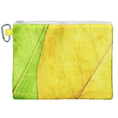 Green Yellow Leaf Texture Leaves Canvas Cosmetic Bag (xxl) by Alisyart