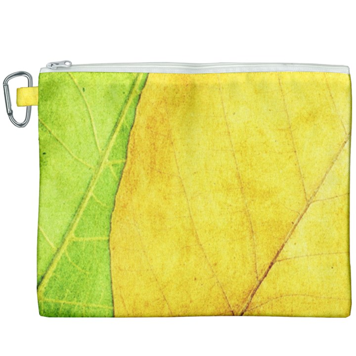 Green Yellow Leaf Texture Leaves Canvas Cosmetic Bag (XXXL)