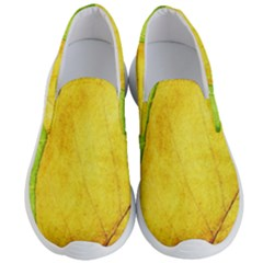 Green Yellow Leaf Texture Leaves Men s Lightweight Slip Ons