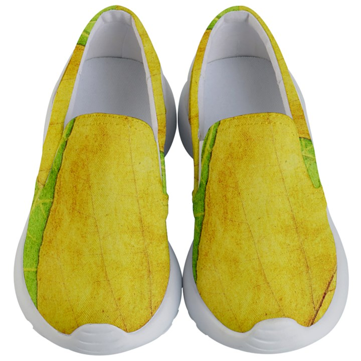 Green Yellow Leaf Texture Leaves Kid s Lightweight Slip Ons