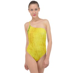 Green Yellow Leaf Texture Leaves Classic One Shoulder Swimsuit by Alisyart