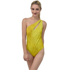 Green Yellow Leaf Texture Leaves To One Side Swimsuit