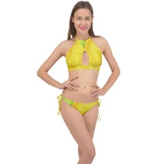 Green Yellow Leaf Texture Leaves Cross Front Halter Bikini Set