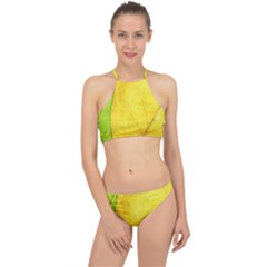 Green Yellow Leaf Texture Leaves Racer Front Bikini Set