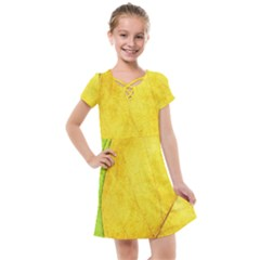 Green Yellow Leaf Texture Leaves Kids  Cross Web Dress
