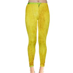 Green Yellow Leaf Texture Leaves Inside Out Leggings