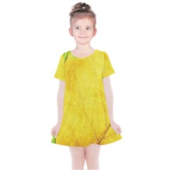 Green Yellow Leaf Texture Leaves Kids  Simple Cotton Dress