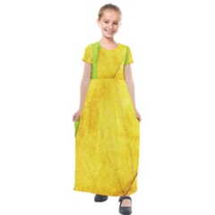 Green Yellow Leaf Texture Leaves Kids  Short Sleeve Maxi Dress