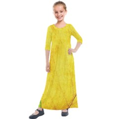 Green Yellow Leaf Texture Leaves Kids  Quarter Sleeve Maxi Dress