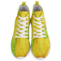 Green Yellow Leaf Texture Leaves Men s Lightweight High Top Sneakers