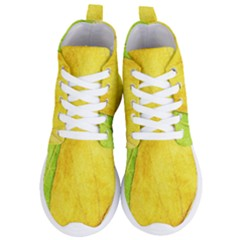 Green Yellow Leaf Texture Leaves Women s Lightweight High Top Sneakers
